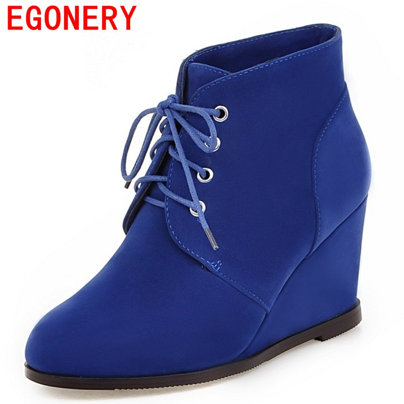 EGONERY flock warm ankle boots winter solid lace-up wedges high heels round toe thick concise heels boots for women<br>