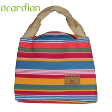 Ocardian ziplock bag Canvas Stripe Insulated Lunch BagThermal Tote Lunchbag Picnic Lunchbox Termica Bolsa #20 2017 Gift