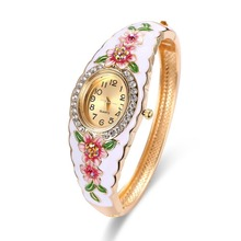 High Quality Painted 18K gold female jewelry bracelet table alloy micro-diamond jewelry watch for Ladies Women Girl Jewelry