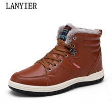 The latest warm winter boots high quality pu leather wear casual boots work Fahsion male boots