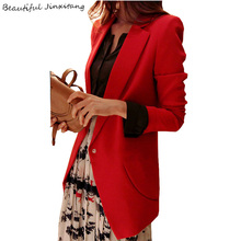 2017 fashion women blazer Autumn and winter women clothing long sleeve solid color hidden breasted ladies blazers office TN53(China)
