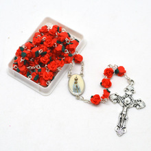 100th Anniversary Fatima Rosary Red Pink Polymer Flower Bead Rosary Necklace