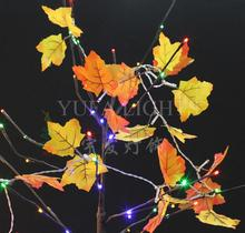 Seven Color Fall Leaves 10 LED Light String Autumn Leaf Outdoor Garland Crawling Lighting Harvest Thanksgiving Day Party Decor