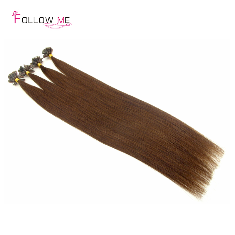 Factory Price Peruvian Virgin Hair Straight Light Brown Prebonded Hair Extension 50G 100G 200G 16-28 Inches<br><br>Aliexpress