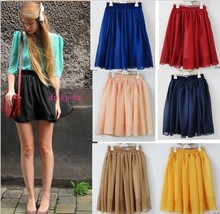 Freeshipping black/blue/red/pink/yellow patterns summer cheap short fashion skirt lady chiffon mini skirts womens/women 2013(China)