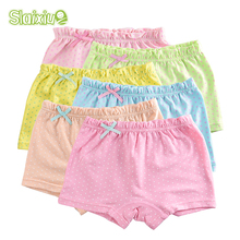 5Pcs/Lot Organic Cotton Material Kids Girls Underwear Dot Candy Colors Girls Boxer For Baby Panties Children's Clothing(China)