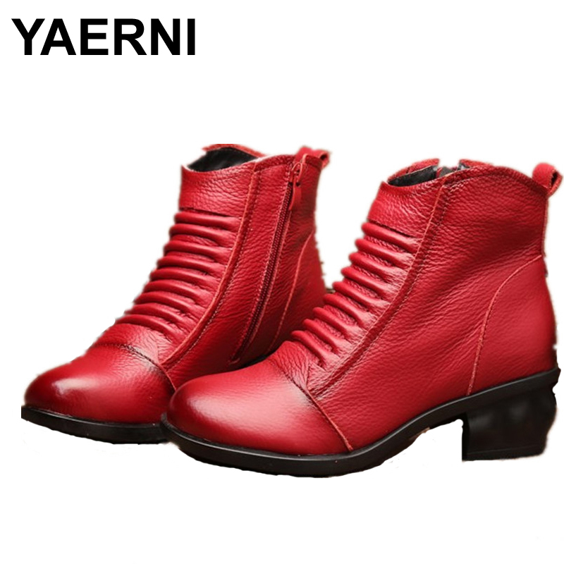 YAERNI  Winter Fashion Women Genuine Leather Boots Handmade Vintage Flower Ankle Botines Shoes<br>