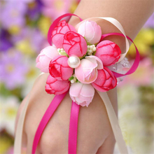 5Piecs/Lot Handcrafted Hand Flower bouquet for Wedding Prom Decoration Cheap Wrist Corsage Wedding Supplies Hot sale
