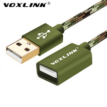 VOXLINK Camouflage Nylon Braided 1M 1.5M 2M 3M USB Male to Female Extension Cable Cord Extender For PC/ Notebook(China)