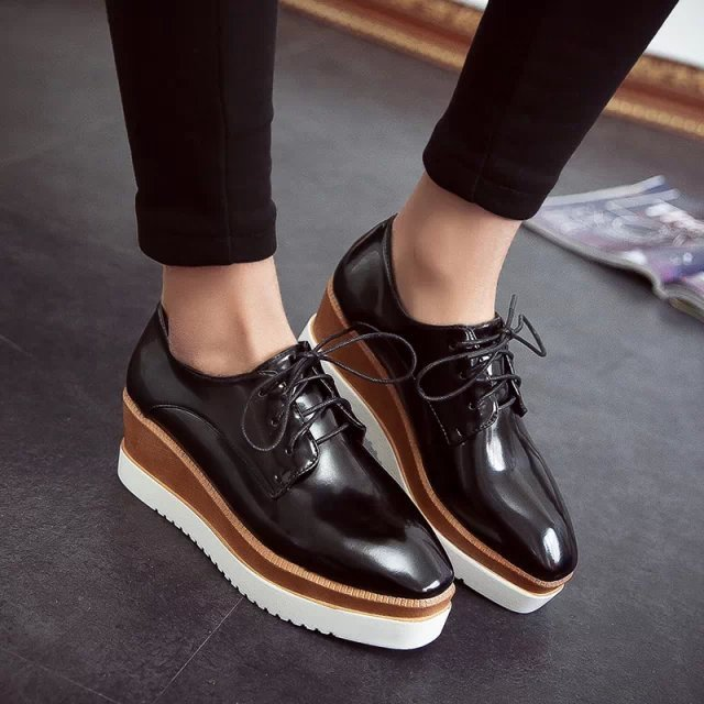 women fashion high quality pu leather thick platform lace up boots botas femininas lady cute spring  waterproof ankle boots<br><br>Aliexpress