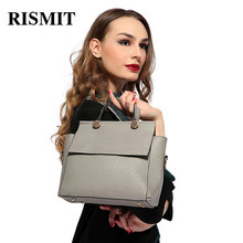 RISMIT 2017 New Women Bag Fashion Brand hand bag Big Solid Pu Leather Lady Shoulder Bag Female Casual Tote Crossbody bags BO36(China)