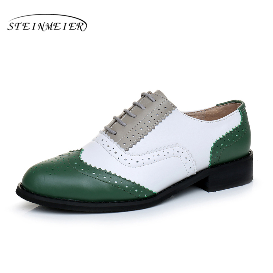 Genuine leather big woman US size 11 designer vintage flat shoes round toe handmade green white grey oxford shoes for women fur<br>