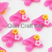 250pcs pink kawaii mushroom with flowers resin decoden cabochons (20mm) Cell phone decor, hair accessory DIY