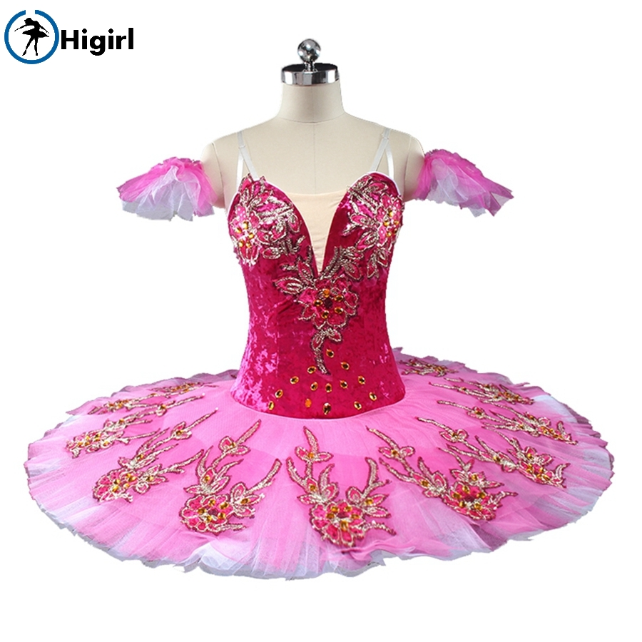 Style Professional Red Women Burgundy,Fire Bird Competition Performance Classical Costume Ballet Tutu BT9141