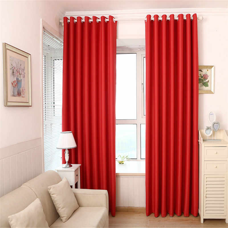Solid Red Color Jalousie Curtains For Living Room Modern Curtains for Bedroom Window Curtains kitchen Curtains Blinds 092&30