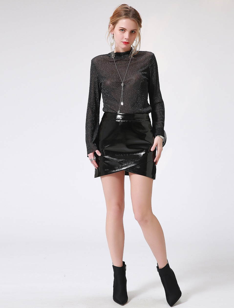 Autumn Winter Women Sexy Mini Skirt Black faux Patent Leather Female Short Pencil Skirt Zipper Fashion Streetwear Skirts Talever 2