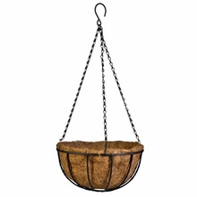 Flower Hanging Basket Wrought Coconut Flowerpot Rattan Decorative Pots Wall Iron Garden Planter 2016 20cm(China)