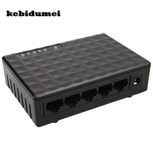 kebidumei New Arrive 10/100Mbps 5 Ports Fast Ethernet LAN RJ45 Vlan Network Switch Switcher Hub Desktop PC with EU/US adapter(China)