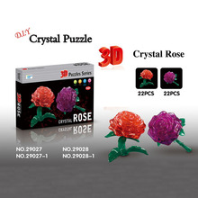 2pcs 3D Model Puzzle Crystal Rose DIY Puzzles Red Purple Color Creative Toy Building Model for Children
