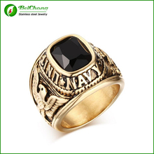 Vintage Punk Army Rings  Gold  Ring with CZ Stone Stainless Steel Eagle Pattern Ring for Male Jewelry