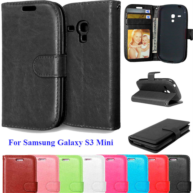 i8190 Cases Samsung Galaxy S3 Mini Cell Phone Case Card Holder Stand PU Leather Book Cover Galaxy S3Mini Coque