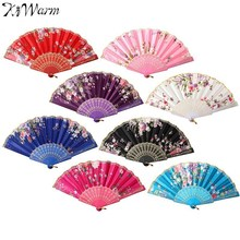 KiWarm Chinese Japanese Style Silk Lace Dance Fan Flower Pattern Hand Fan Folding Fan Wedding Home Decoration Art Crafts Gift