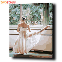 TwoSteps Practicing Dancers DIY Digital Canvas Oil Painting By Numbers Pictures Coloring By Numbers Acrylic Paint By Number Kits