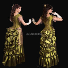 NEW Green Taffeta Theatre Vintage costumes polonaise Renaissance Gothic  Civil war Halloween Cosplay Gown dress HL-305 9946dbbe17f9