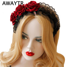AWAYTR Handmade Rose Flower Headband Lace Headdress Flower Head Elegant Hair Ornaments for Party Photography Accessories