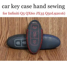 discount price car key case hand sewing leather car key cover fit for Infiniti Q5 QX60 JX35 Q50L92016) Q50(2014) QX6 QX70(2015)(China)