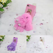 Cute Fluffy Rex Rabbit Phone Case Plush Doll Toy Pendant Back Cover for iPhone 7 7 Plus 6 6s 6 Plus 6s Plus Coque Fundas Capa