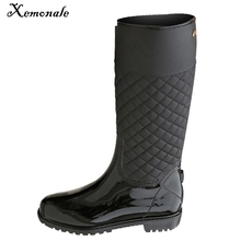 Xemonale Rain Boots Rubber Platform Shoes Woman 2017 Knee-High Women Boots Casual Creepers Slip Flats Women Shoes WZH5421