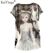KaiTingu 2017 New Design Fashion Vintage Spring Summer T Shirt Women Tops Tshirt Animal Princess Print T-shirt Woman Clothes