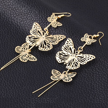 Pameng New Fashion Plating Silver Color Alloy Double bow Butterfly drop earrings  Hollow flower Long tassels earring Gold Color