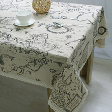 2016 New Arrival Table Cloth World Map High Quality Lace Tablecloth Decorative Elegant Table Cloth Linen Table Cover