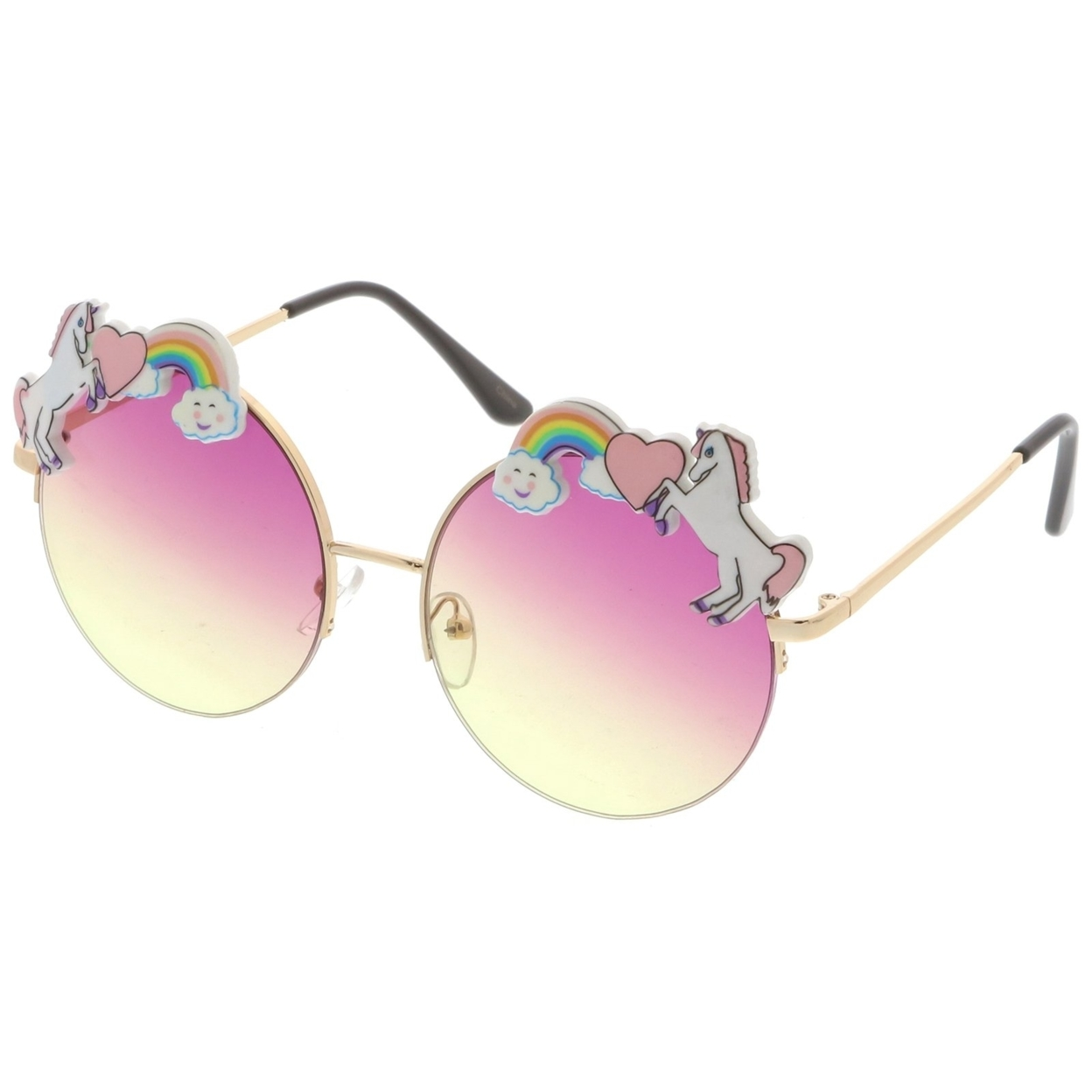 Unicorn Rainbow Semi Rimless Round Sunglasses With Gradient Colored Lens 56mm (2)