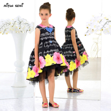 Mitun Dress girls Summer New Fashion Straps Sweet Musical Note Printing Chiffon Tall Waist Princess Party Dress Evening