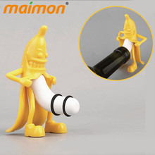 Buy Funny Mr. Banana Wine Stopper Novelty Bar Tools Banana Man Vacuum Glass Wine Cork Bottle Stopper Plug Perky Men Gifts for $4.99 in AliExpress store