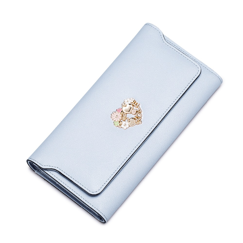 2017 New Womens Metal Floral Cowhide Leather Big Capacity Bifold Long Wallet Card Holder Ladies Purse Fashion Clutch<br><br>Aliexpress