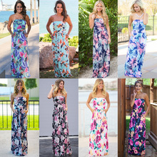 UDLFDZ Pretty Sexy Vacation Strapless Dresses Floor-length Comfortable Milk Fiber Tasteful Forals Printing Fabric Beach Dress(China)