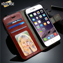 KISSCASE For iPhone 7 6 6S Plus Case Cover Leather Wallet Phone Bags Coque For iPhone 7 Cover Card Slot Stand Flip Magnetic Capa