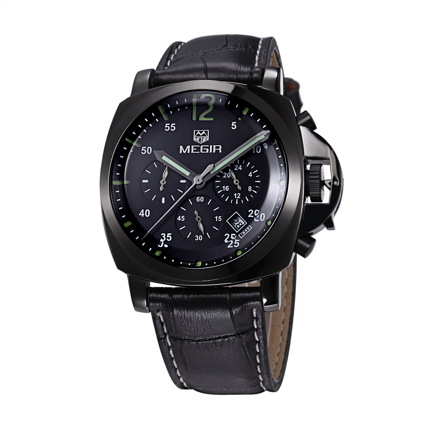 High Quality Luxury Brand Men Sports waterproof Watches Quartz Hour Clock Men Leather Strap montre homme with Auto Date<br>