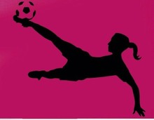 New 2015 Football Player Vinyl Wall sticker Sport Soccer Girl Plaing Football Mural Art Wall Decal Boy's Bedroom Home Decoration