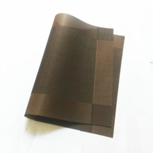 Tronyoo Placemats 6Pcs set PVC Dining table Mat Kitchen Pads 45X30CM coasters disc waterproof Brown woven vinyl washable