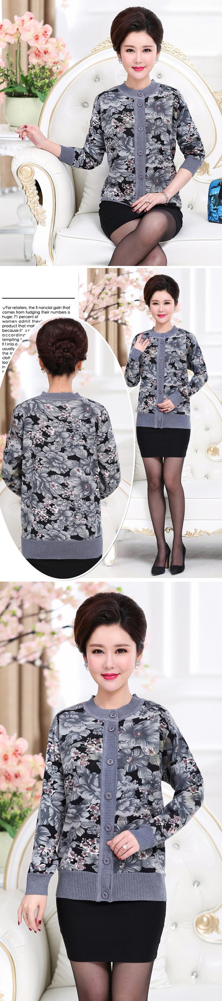 WAEOLSA Winter Woman Flower Cardigan Sweaters Middle Aged Women\`s Thicken Fleece Knitwear Lady Knied Cardigan Sweater Warm Top Mother (11)