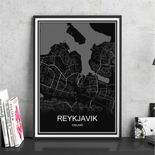 Iceland REYKJAVIK oil painting World map Abstract print picture Modern City poster Canvas Coated paper Cafe Decor Living Room