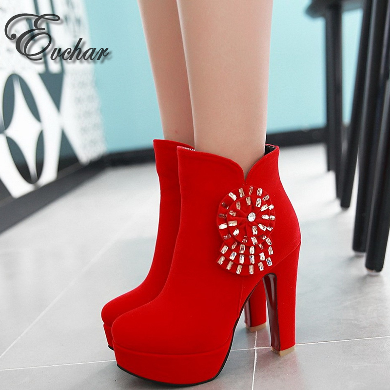 Fashion Ankle Boots Flowers Autumn Winter Boots Sexy Rhinestone Shoes Woman Thick heels Platform Boots wedding shoes  size 33-43<br><br>Aliexpress
