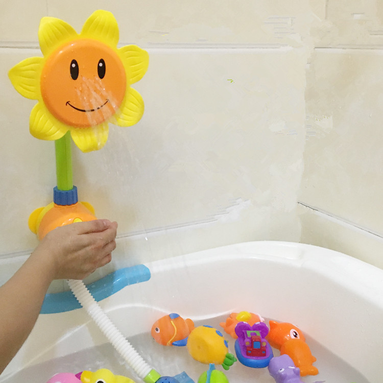 Baby Bath appliances Children Sunflower Shower Faucet Bath Learning Toy Gift Bathing Cup Waterwheel Wheel Type Dabbling A0018<br>