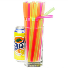 100pcs/lot 21cm Fluorescent Color Straw Cocktail Decoration Straw Food Grade Plastic Extinction Multicolour Straw Party Supplies