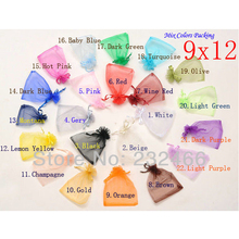 Drawable Organza Bags 9x12 cm,Wedding Gift Bags,Jewelry Packing Bags,Wedding Pouches,Multi-Colors 50pcs/lot(China)